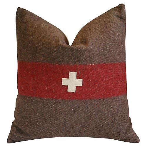 Swiss Appliqué Cross Wool & Linen Pillow