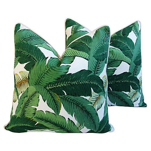 Tropical Banana Leaf Pillows, Pair