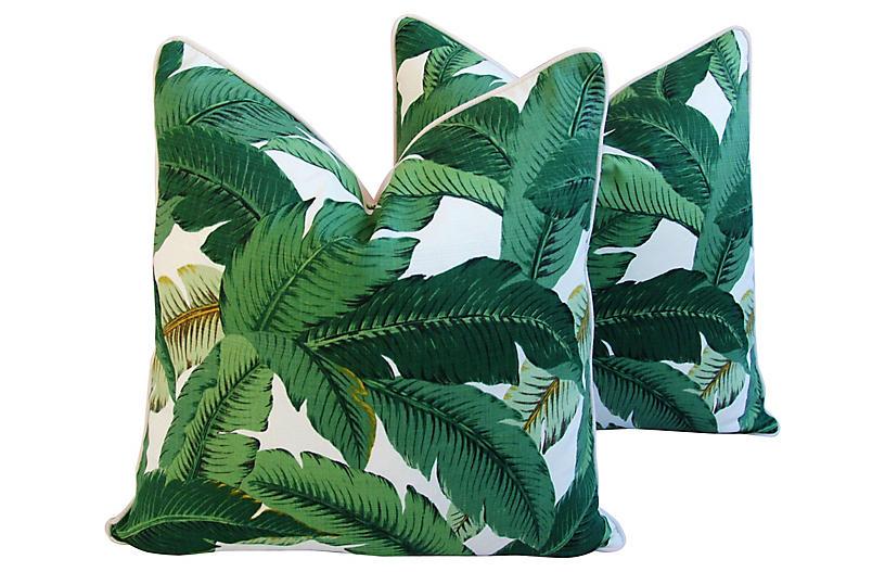 Tropical Banana Leaf Pillows, Pair