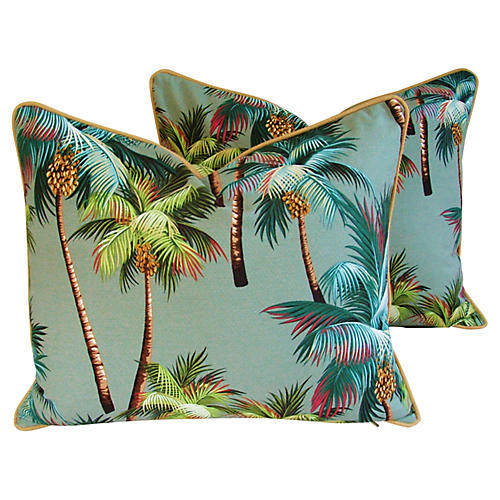 Oasis Palm Tree Barkcloth Pillows, Pr