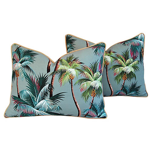 Tropical Swaying Palm Tree Pillows, Pair