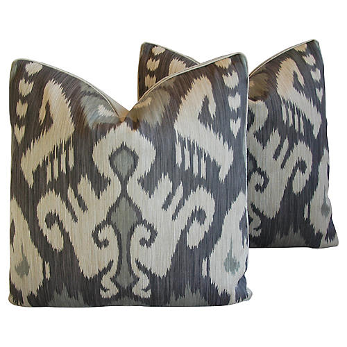 Castel Gray/Taupe Radha Ikat Pillows, Pr