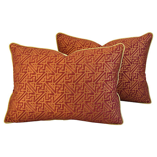 Italian Fortuny Simboli Pillows, Pair