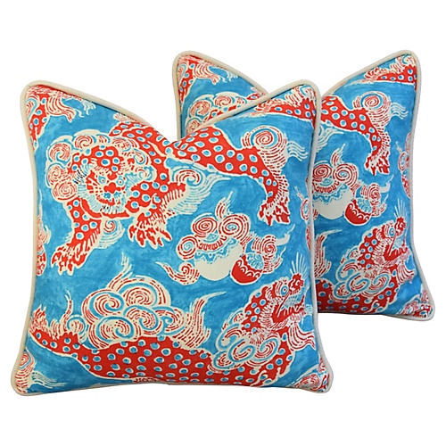 Aqua/Red Chinoiserie Dragon Pillows, Pr