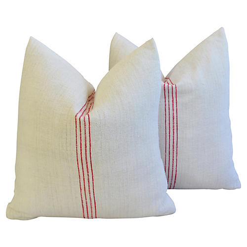 French Red Striped Gain Sack Pillows, Pr