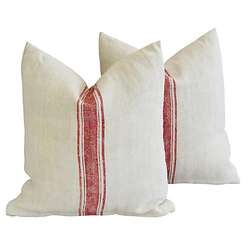 French Homespun Textile Pillows, Pair
