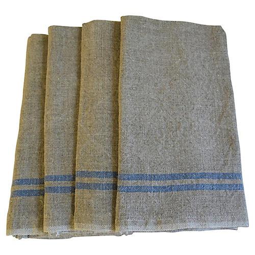 French Blue Stripe Linen Napkins, S/4