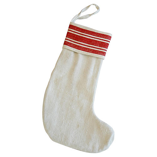 French Grain Sack Christmas Stocking