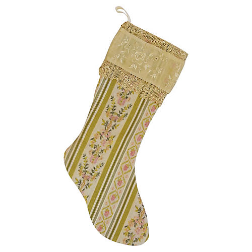 French Fabric & Lace Christmas Stocking