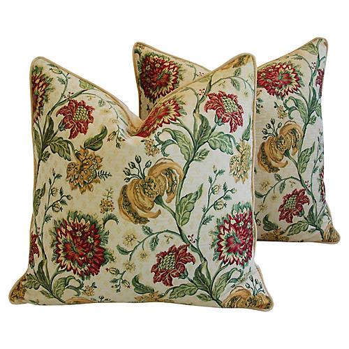 Scalamandre Floral Brocade Pillows, Pair