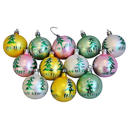 Fancy Christmas Ornaments w/Box, S/12