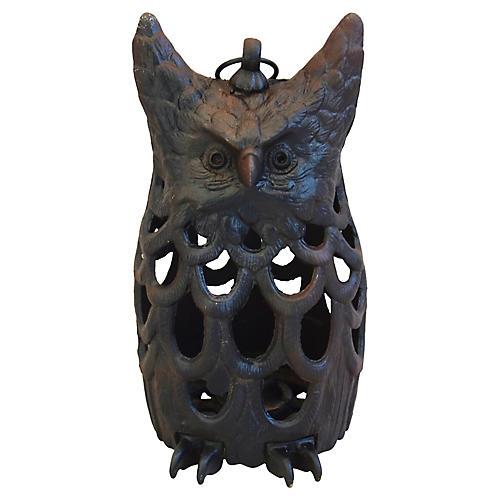 Cast Iron Owl Candle Lantern