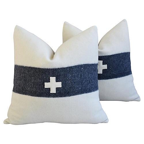 Appliqué Cross Wool/Linen Pillows, Pair