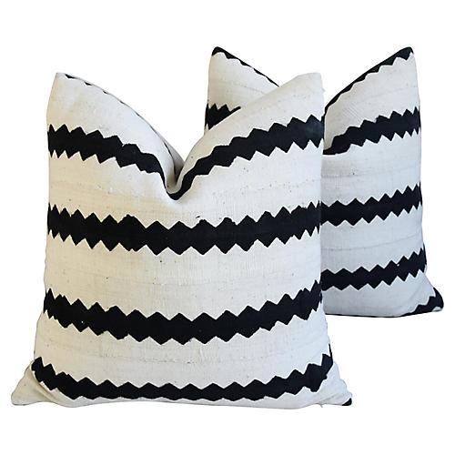 Mud Cloth & Linen Abstract Pillows, Pair