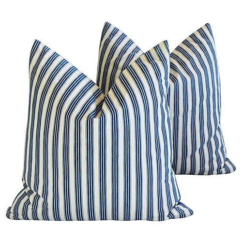 Blue & White French Ticking Pillows, Pr