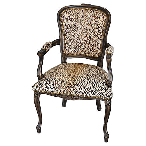 Carved Armchair w/ Cowhide Cheetah Spots