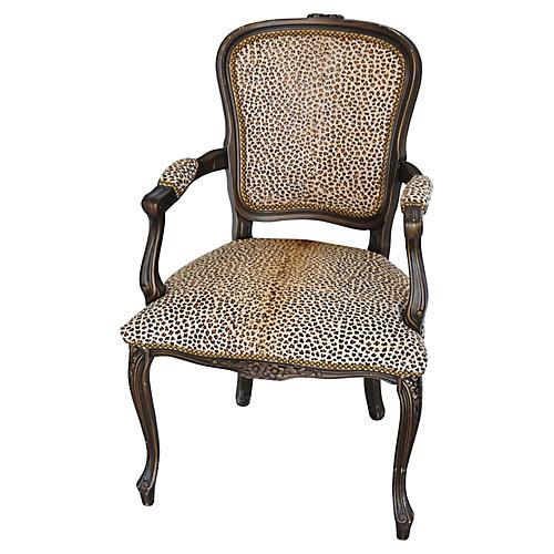 Carved Armchair w/ Cowhide Cheetah Spots