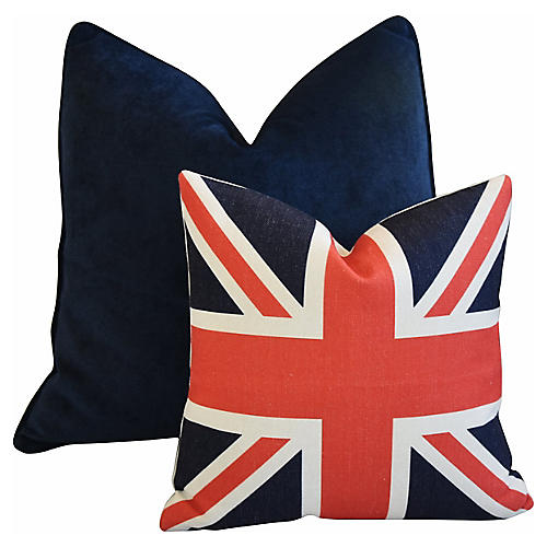 Blue Velvet & Union Jack Pillows, S/2