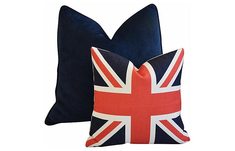 Blue Velvet & Union Jack Pillows, S/2