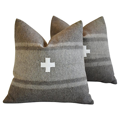 Italian Appliqué Cross Wool Pillows, Pr