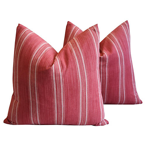 French Red Striped Ticking Pillows, Pair