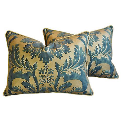 Italian Fortuny Glicine Pillows, Pair