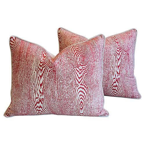Brunschwig Fils Wood Linen Pillows, Pr