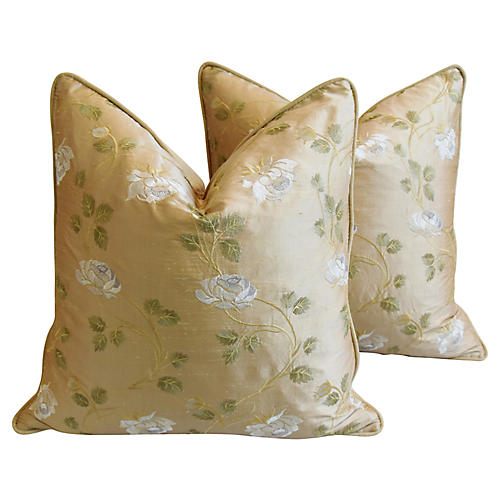 Embroidered White Rose Silk Pillows, Pr
