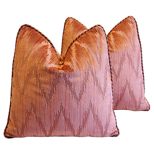 Lee Jofa Flamestitch Velvet Pillows, Pr