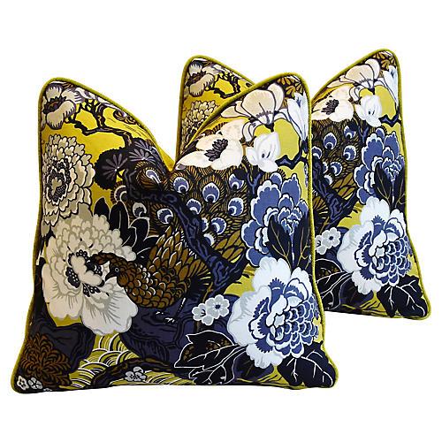 Schumacher Shanghai Peacock Pillows, Pr