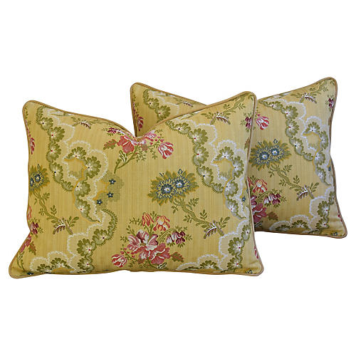 Scalamandré Silk Lampas Pillows, Pair