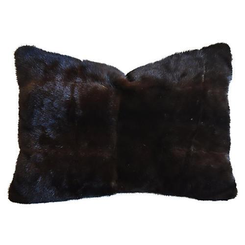 Dark Brown Mink Fur & Velvet Pillow