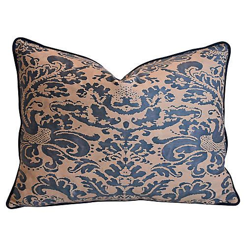 Italian Fortuny Corone & Velvet Pillow