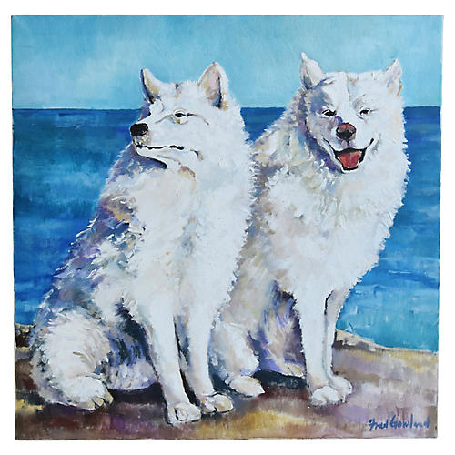 White Dogs w/ Blue Ocean Background