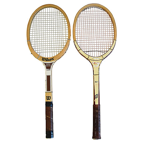 Tennis Rackets w/ Leather Handles, S/2