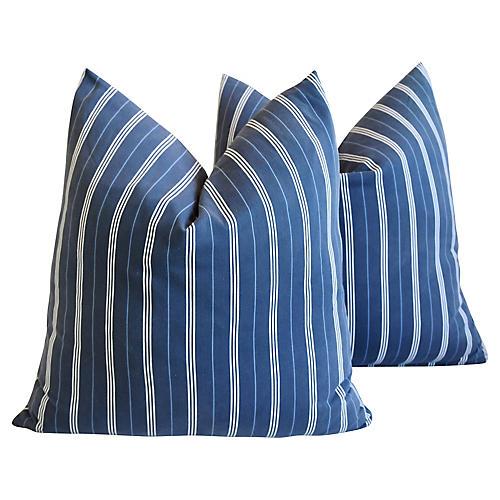 Nautical Blue & White Stripe Pillows, Pr