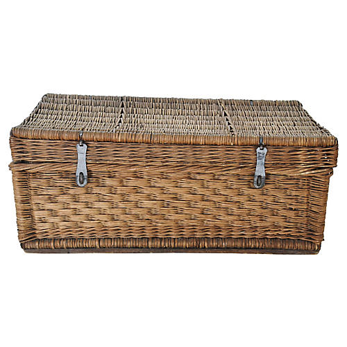 Antique French Wicker Trunk