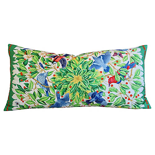 Hermès Custom Floral & Bird Silk Pillow