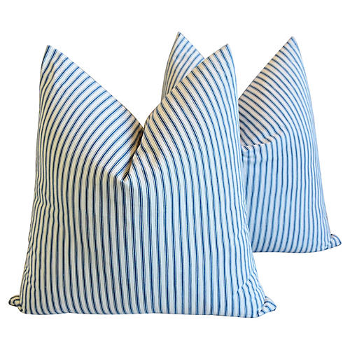 American Striped Ticking Pillows, Pr
