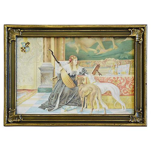 Vintage Print on Canvas Panel