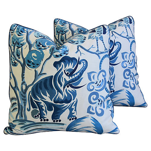 Blue Clarence House Fabric Pillows, Pr