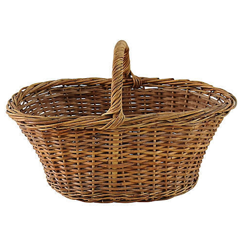 Woven Wicker Floral Basket w/ Handle