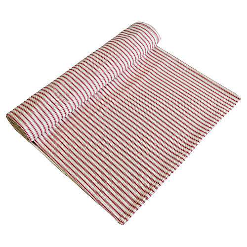 French Red & Ivory Ticking Table Runner