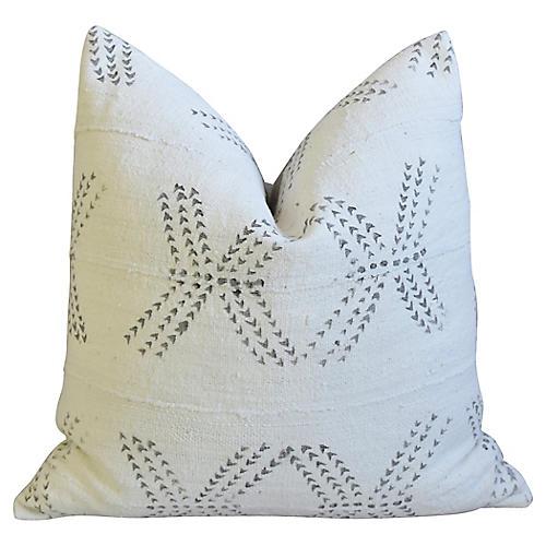 Neutral & Gray Mud Cloth Tribal Pillow