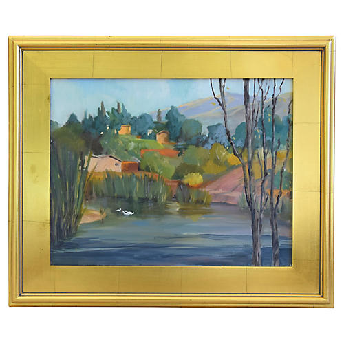 Landscape w/ Pond, Terraced Hills/Houses