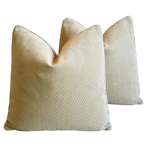 Eldeman Leather & Cut Velvet Pillows, Pr