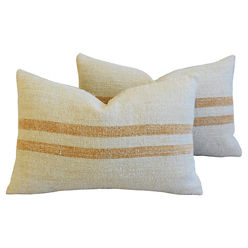 Golden Striped Grain Sack Pillows, Pair