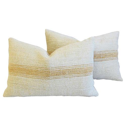 Golden Striped Grain Sack Pillows, Pr