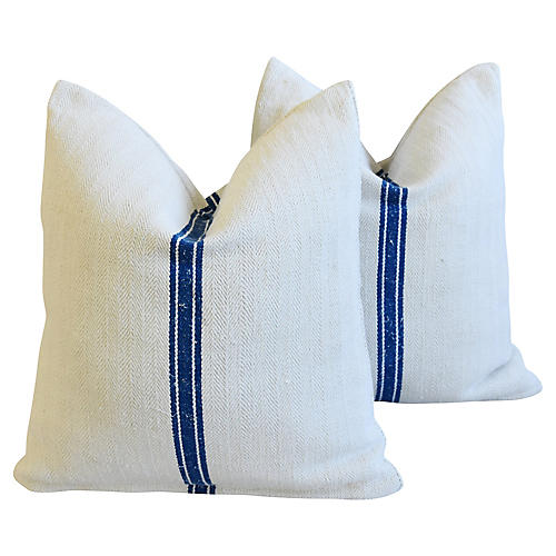 Blue Stripe French Textile Pillows, Pr