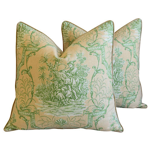 French Chinoiserie Toile Pillows, Pair